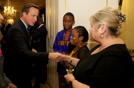 Prime Minister David Cameron greets Chamber at Number 10